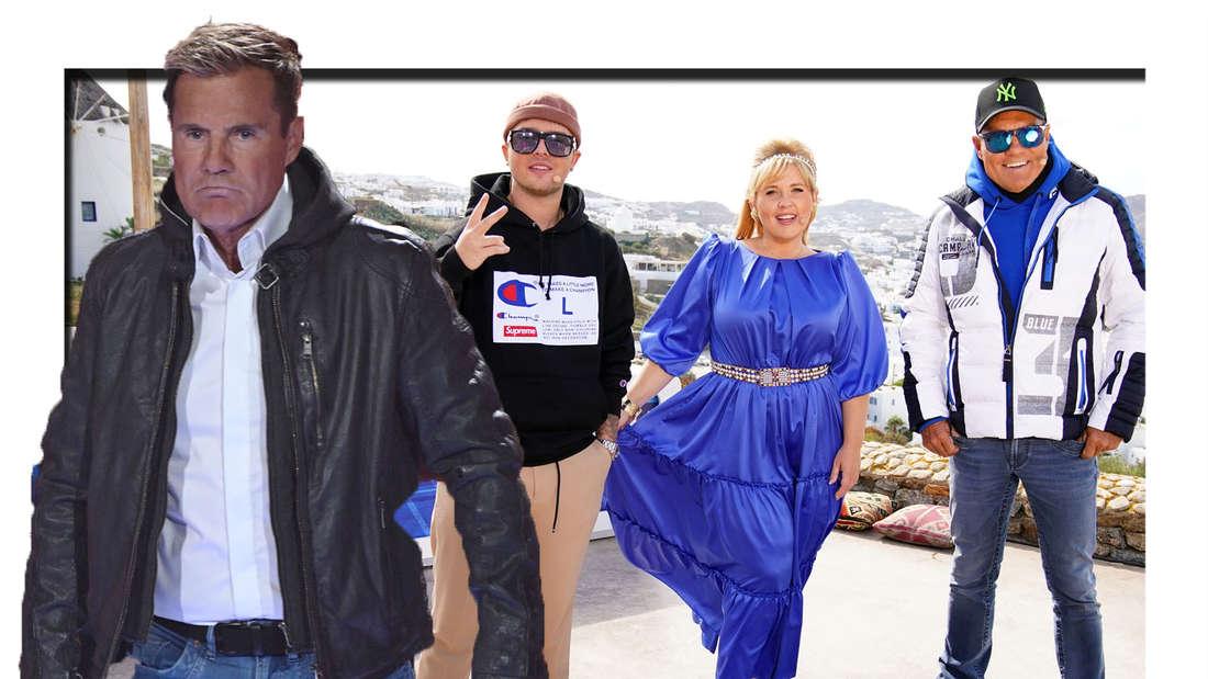 Dieter Bohlen schaut beleidigt in die Kamera - im Hintergrund sieht man ihn gemeinsam mit Maite Kelly und Mike Singer. (Fotomontage)