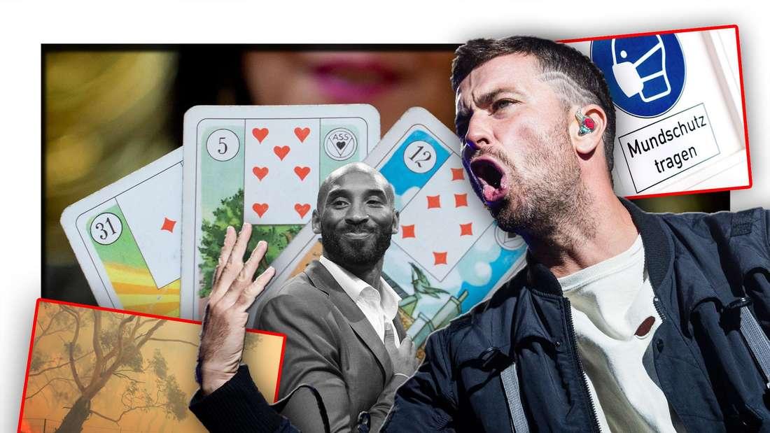 Rapper Marteria steht vor Tarot-Karten, dem verstorbenen Basketball-Star Kobe Bryant, einem Buschfeuer und einem Schild zur Maskenpflicht (Fotomontage)