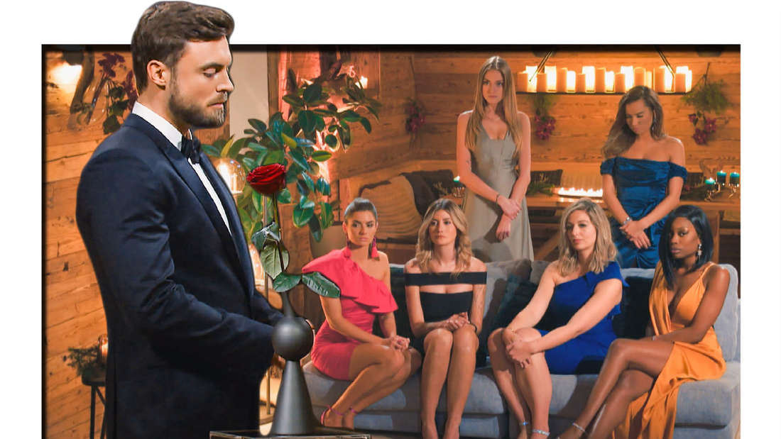 Fotomontage: Der Bachelor Niko Griesert und die Kandidatinnen