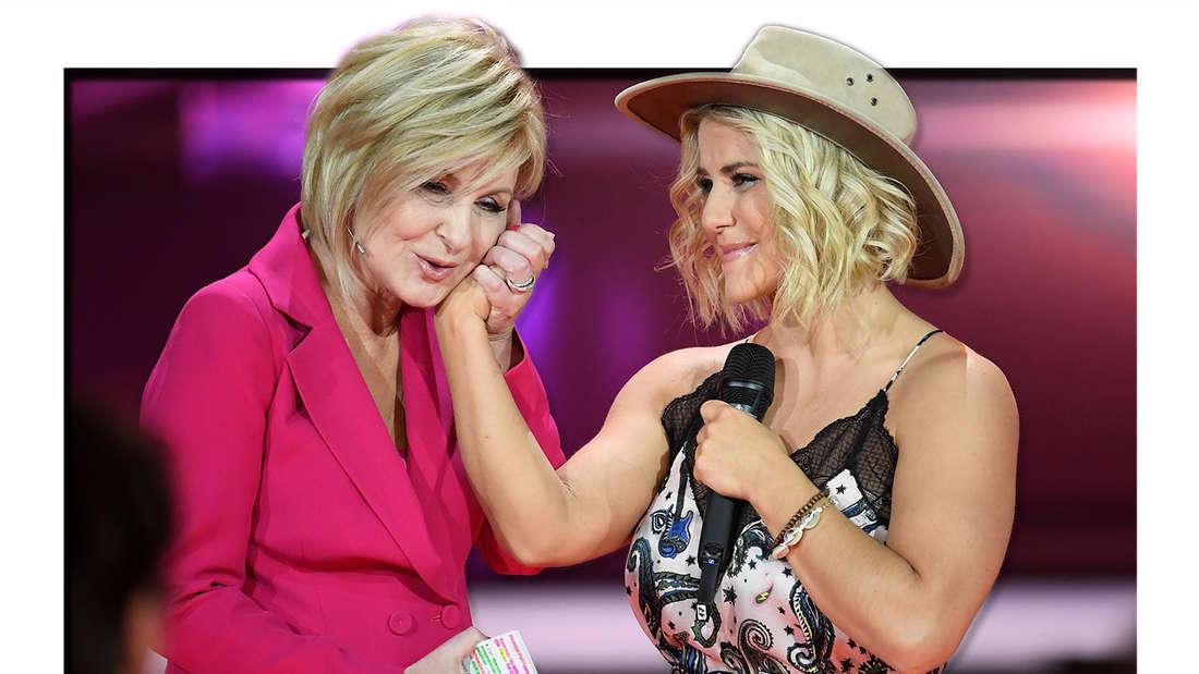 """Beatrice Egli (r) Auftritt spricht sie mit Carmen Nebel bei der ZDF-Show """"Willkommen bei Carmen Nebel"""" am 04.05.2019. (Fotomontage)"""