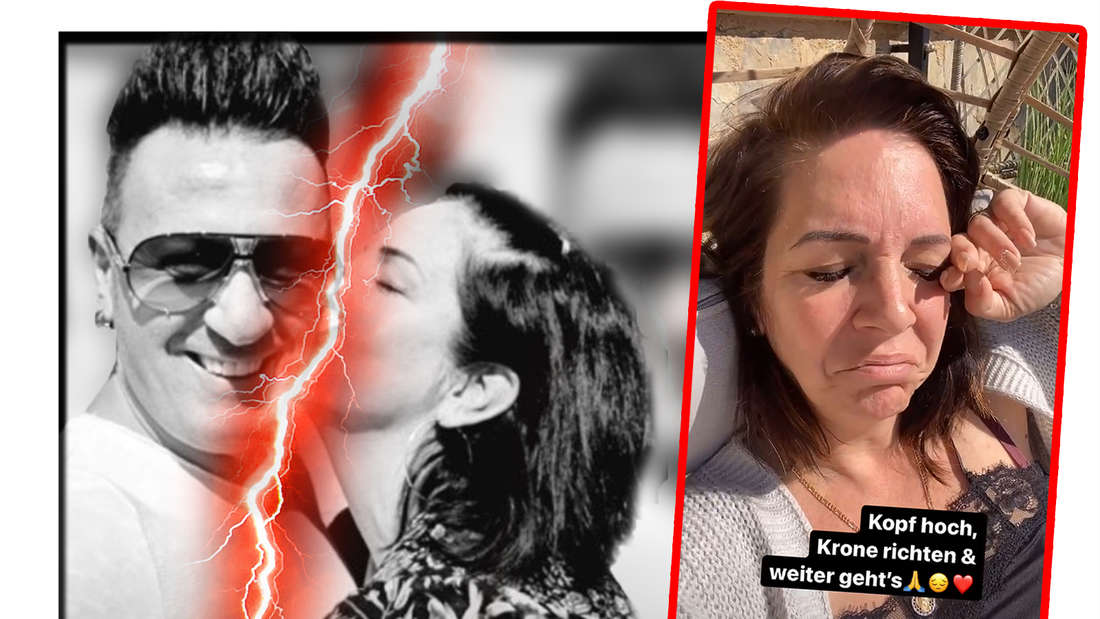 Fotomontage: Danni Büchner und Ennesto Monté getrennt durch rote Blitze, daneben ein Screenshot aus ihrer Insta-Story - sie sieht traurig aus.