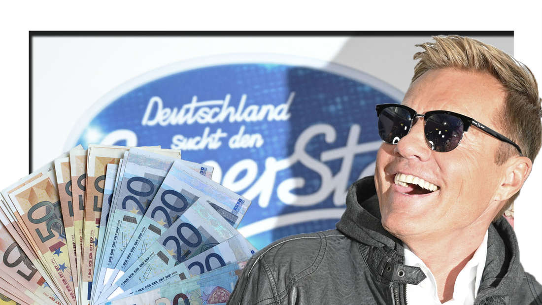 Dieter Bohlen schaut mit offenem Mund auf Geldscheine - im Hintergrund ist das DSDS-Logo zu sehen (Fotomontage).
