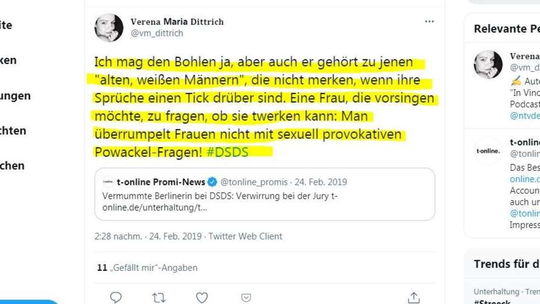 Bei Twitter kommentiert eine Userin über Bohlens frauenverachtende Sprüche bei DSDS.