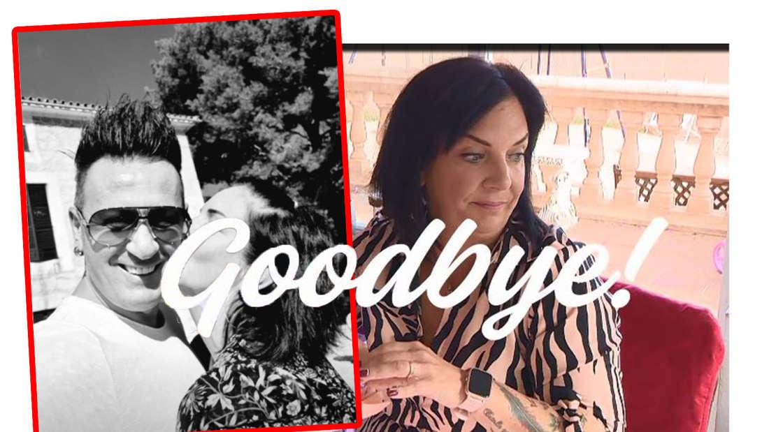 """Fotomontage: Danni verdreht die Augen, daneben ein Bild von ihr und Ennesto, darüber steht """"Goodbye"""""""