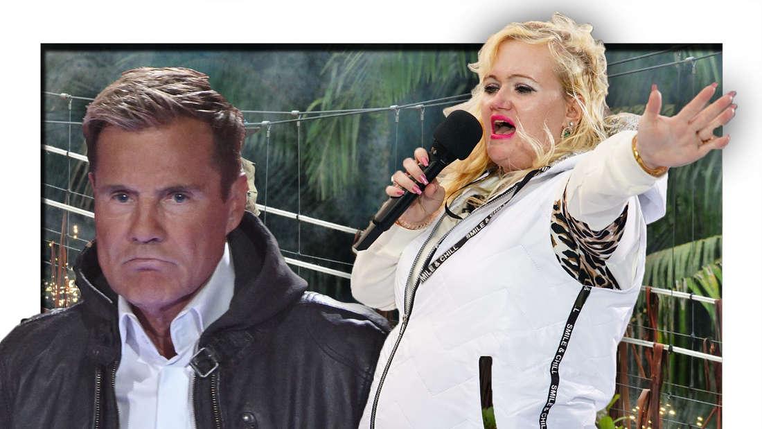 Dieter Bohlen schaut traurig, Claudia Haas singt, Hintergrund Dschungel (Fotomontage)