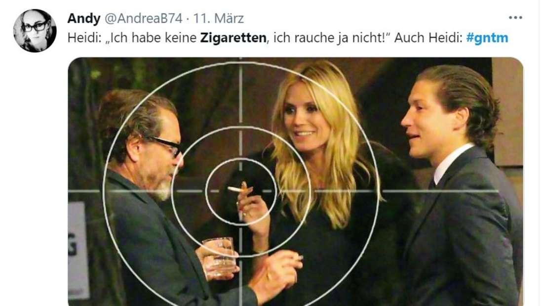 Heidi Klum mit einer Kippe in der Hand