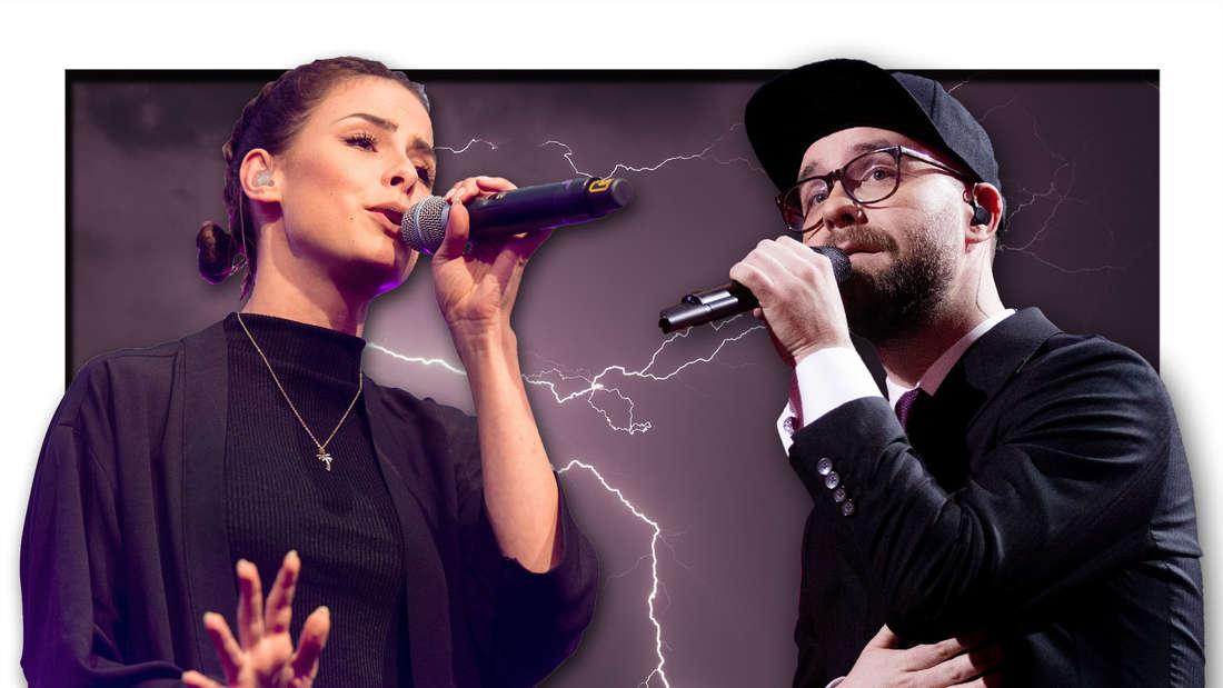 Die Popstars Lena Meyer-Landrut und Mark Forster vor einem mit Blitzen überzogenen Nachthimmel (Fotomontage)