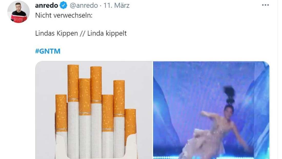 Eine Packung Kippen neben einem Bild, auf dem Linda hinfällt. Die Headline: Lindas Kippen/ Linda kippelt