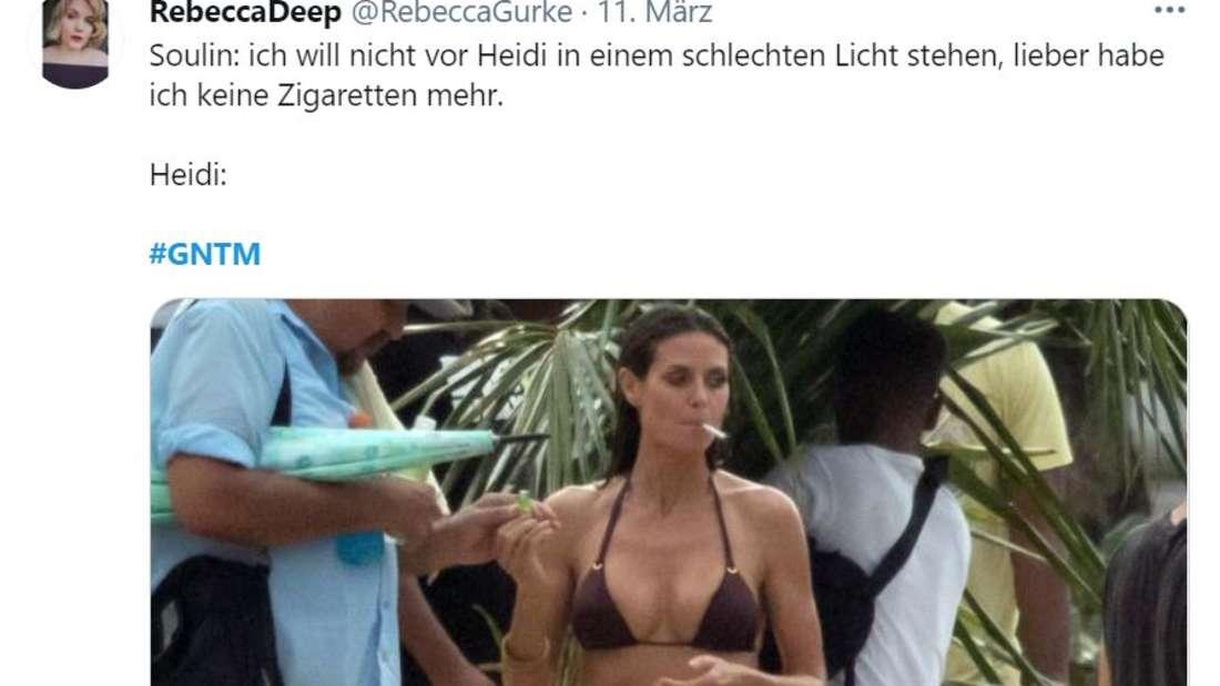 """""""Soulin: ich will nicht vor Heidi in einem schlechten Licht stehen, lieber habe ich keine Zigaretten mehr"""", darunter ein Bild von Heidi mit Zigarette im Mund"""