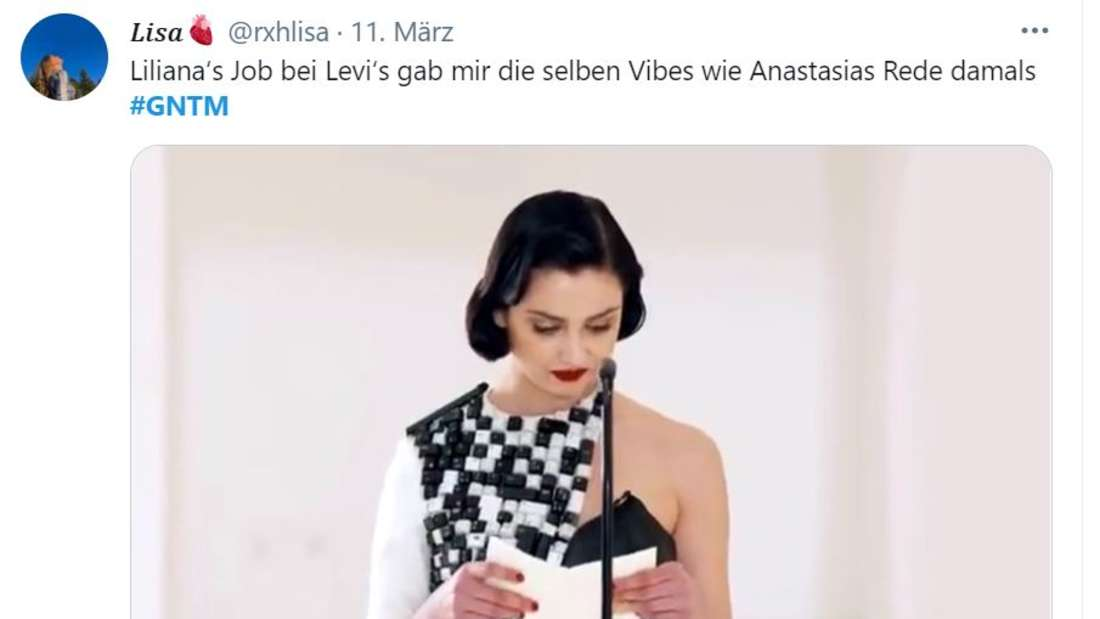 """Nasti liest ihre Rede vor, """"Lilianas Job bei Levi's gibt mir dieselben Vibes wie Anastasias Rede damals"""""""