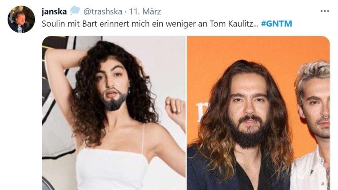 """Soulin mit aufgemaltem Bart, daneben ein Bild von Tom Kaulitz, """"Soulin erinnert mit Bart ein wenig an Tom Kaulitz"""""""
