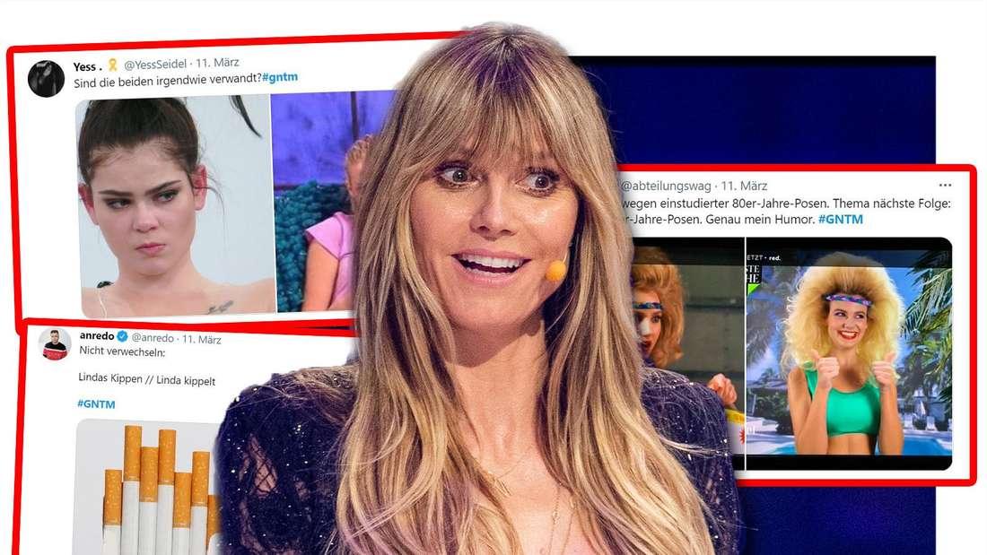 Fotomontage: Heidi Klum in der Mitte, sie schaut überrascht, daneben Screenshots der Tweets