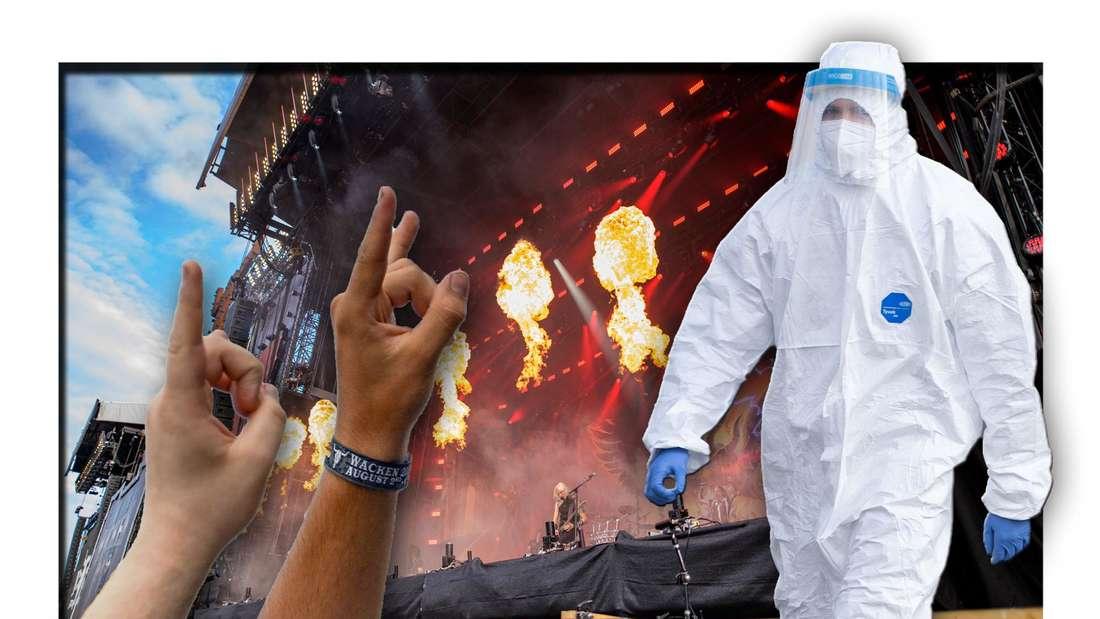 Ein Mann in Corona-Schutzanzug steht neben einer Bühne des Wacken Open Air-Festivals und Metal-Fans (Fotomontage)