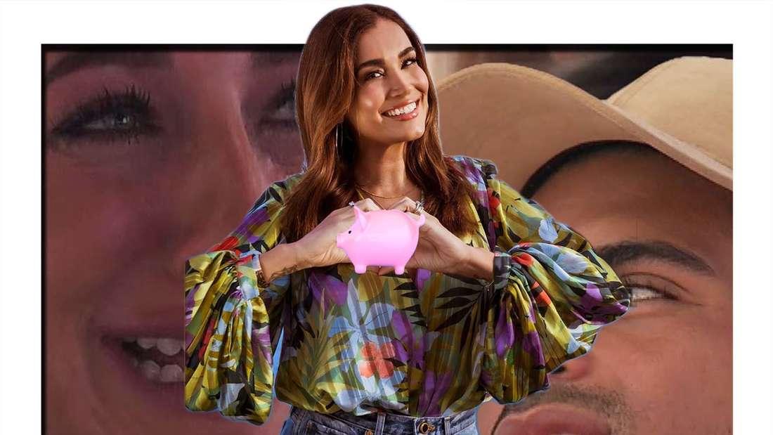Fotomontage: zwei Islander, davor Moderatorin Jana Ina Zarella mit einem Sparschwein