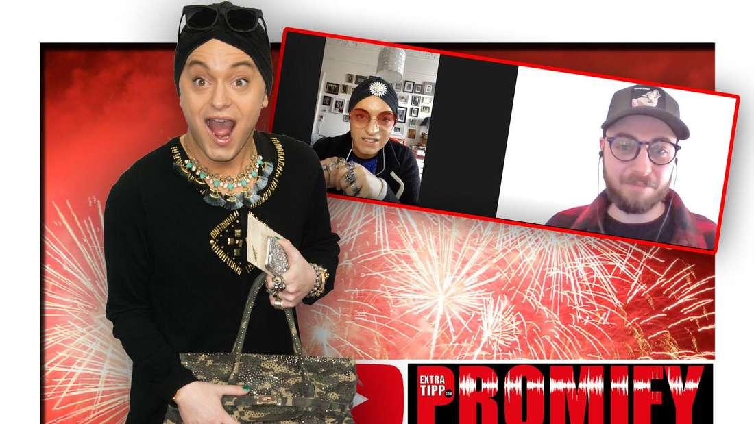 Entertainer Julian F. M. Stoeckel steht vor einem roten Feuerwerk, daneben ein Screenshot seines Promify-Interviews mit Extratipp.com (Fotomontage)