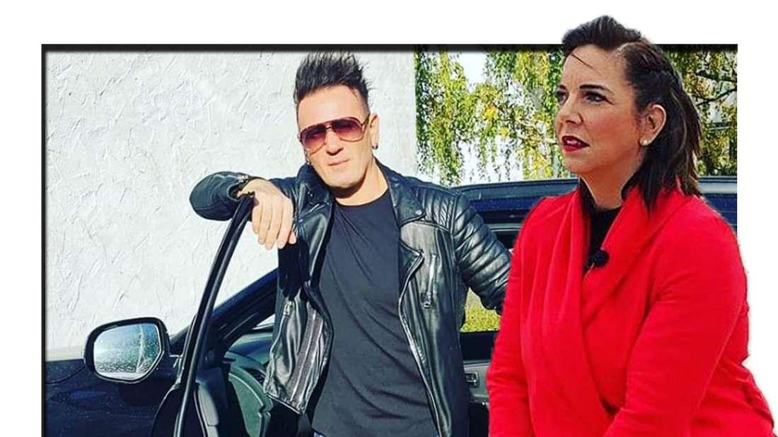 Danni Büchner trägt einen roten Blazer und schaut seitlich in die Kamera - im Hintergrund kann man Enensto sehen, der vor einem Auto steht (Fotomontage)