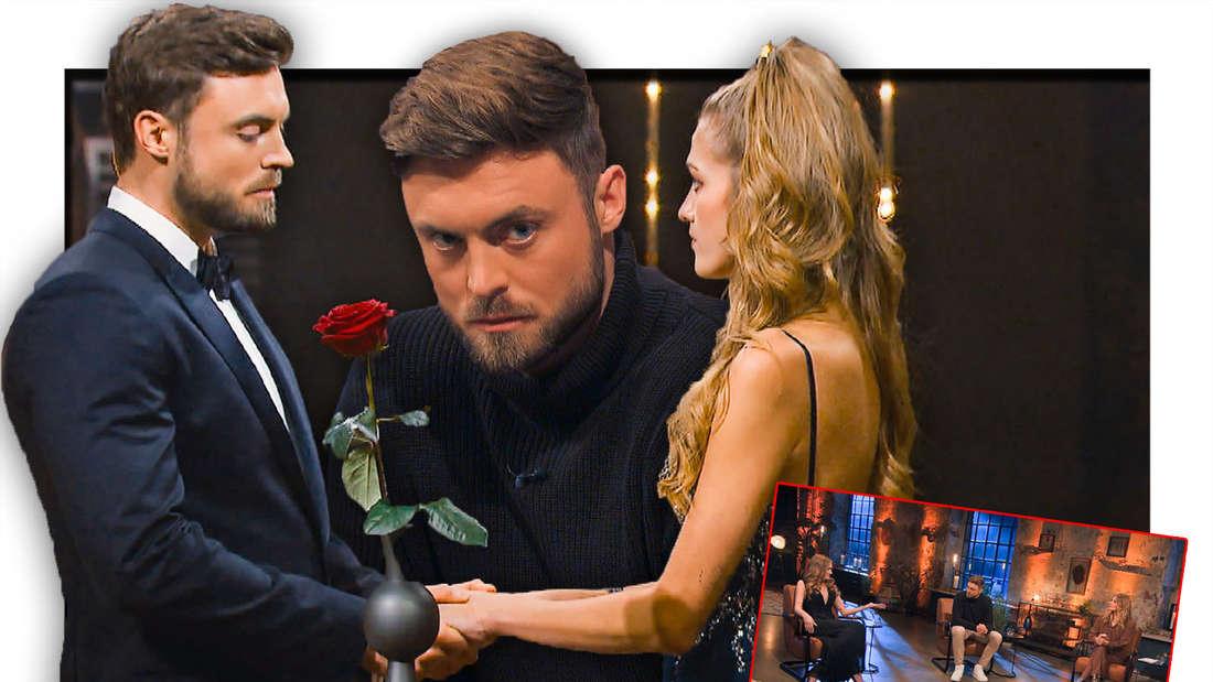 Niko Grieser gibt Mimi die letzte Rose. Niko schaut verunsichert bei der Aussprache (Fotomontage)
