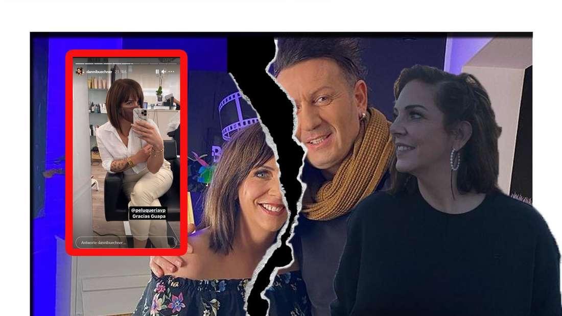 Danni Büchner lächelt in die Kamera und zeigt ihre neue Frisur - im Hintergrund ist sie gemeinsam mit Ennesto zu sehen (Fotomontage)