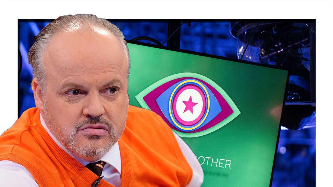 Hubert Kah schaut in die Kamera - im Hintergrund ist das Promi Big Brother Logo zu sehen (Fotomontage)