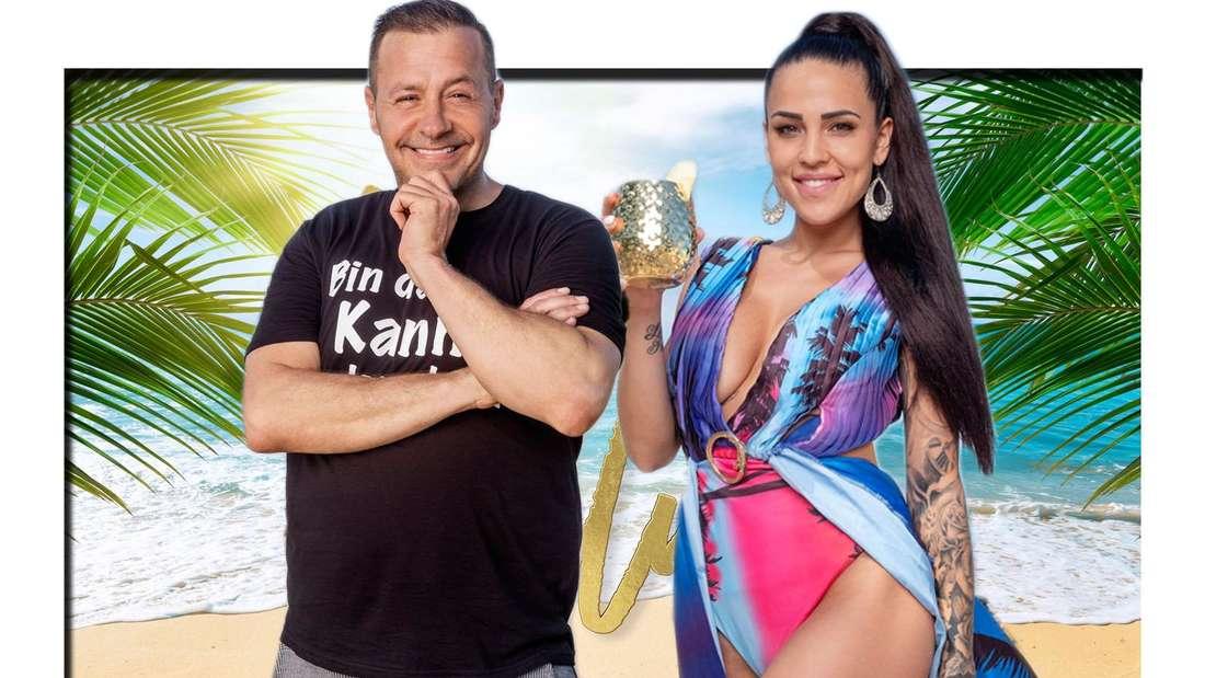 Fotomontage: Willi Herren und Elena Miras vor Promis unter Palmen Hintergrund