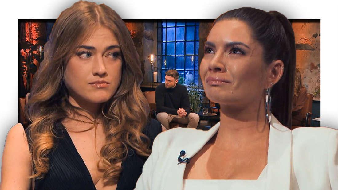Mimi schaut bedrückt, Michèle weint, bei der Aussprache sitzt Niko und schaut zur Seite (Fotomontage)