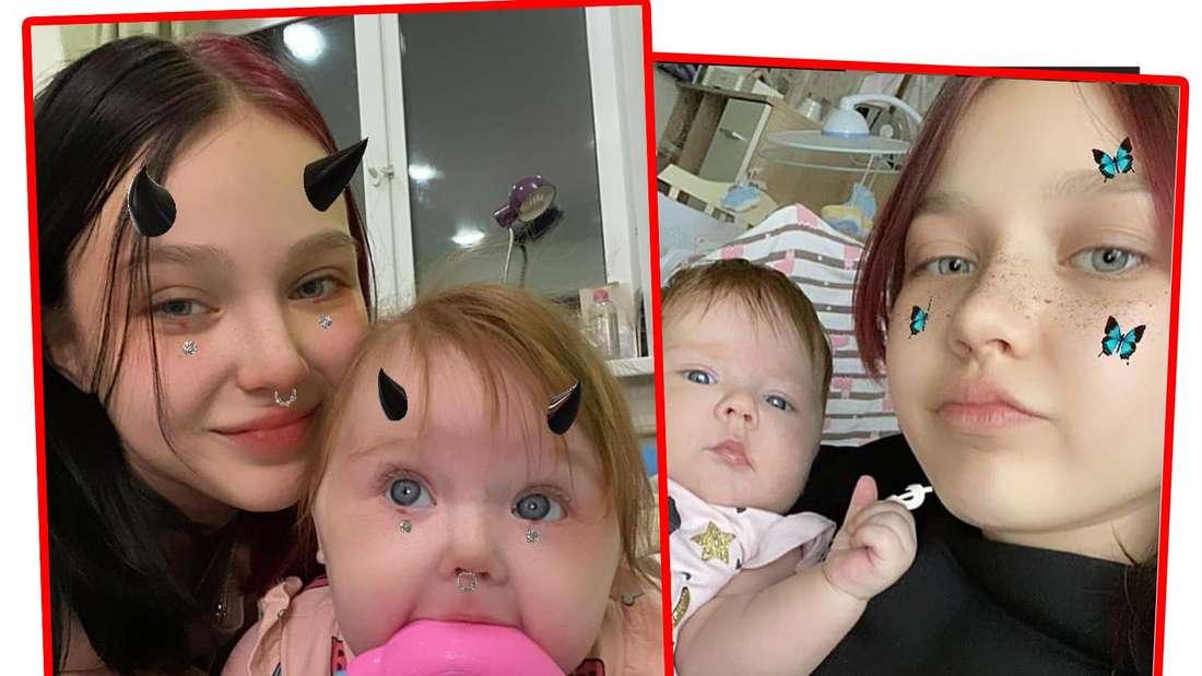 Fotomontage: Zwei Fotos von Darya mit ihrem Baby