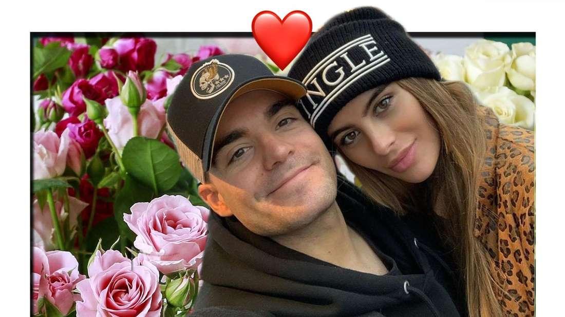 Fotomontage: Romina plan und Freund Stefano Zarrella vor Rosen Hintergrund