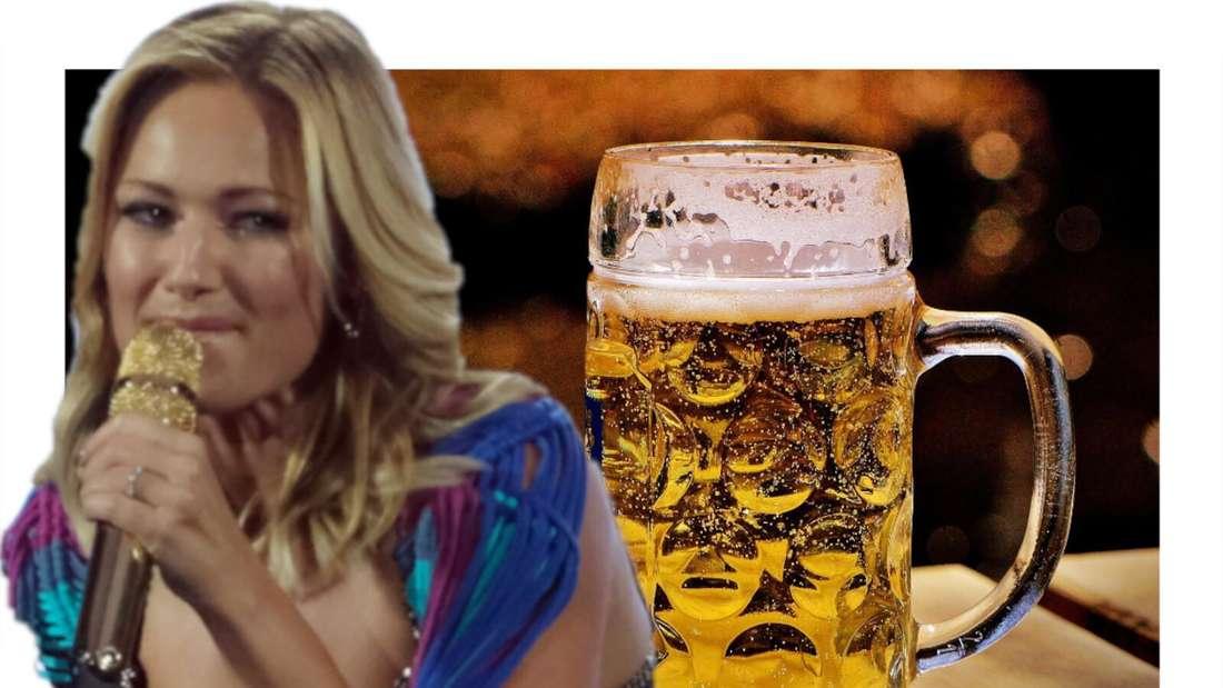 Helene Fischer schielt auf eine Maß Bier (Fotomontage)