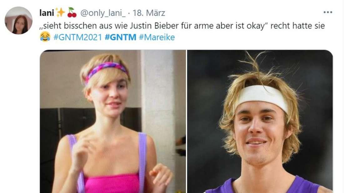Ein Bild von Mareike neben einem Bild von Justin Bieber