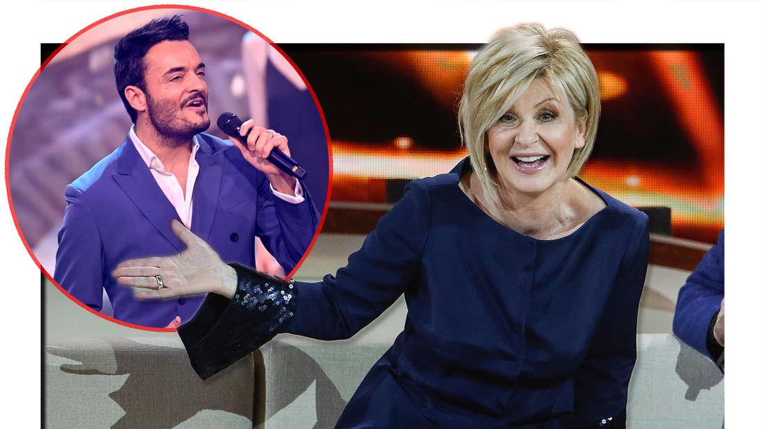 """Carmen Nebel in der ZDF-Gala """"Willkommen bei Carmen Nebel"""" am 29.09.2018. Die """"Ein Herz für Kinder""""-Allstars mit Giovanni Zarrella singen bei der TV-Spendengala """"Ein Herz für Kinder"""" auf der Bühne. (Fotomontage)"""