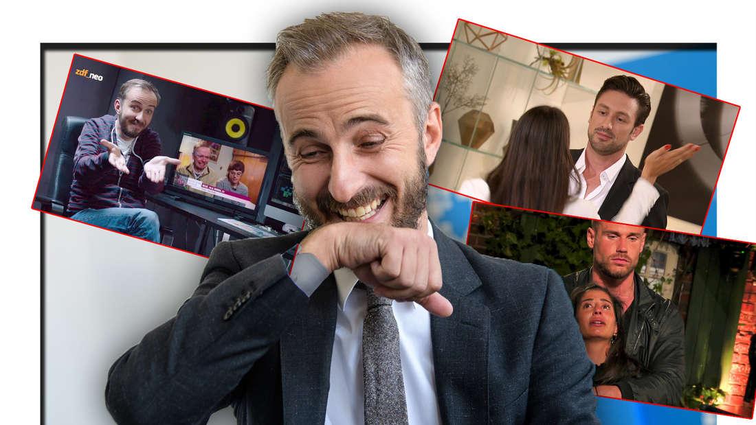 Jan Böhmermann lacht, im Hintergrund TV-Momente (Fotomontage)