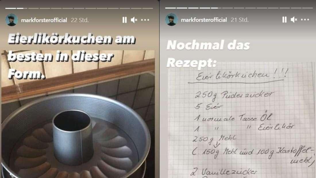 Die Instagram-Story von Popstar Mark Forster, in der er dokumentiert, wie er einen Kuchen backt