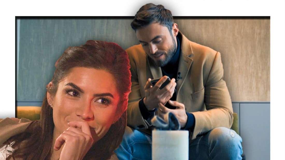 Michele lächelt, Niko griesert telefoniert (Fotomontage)
