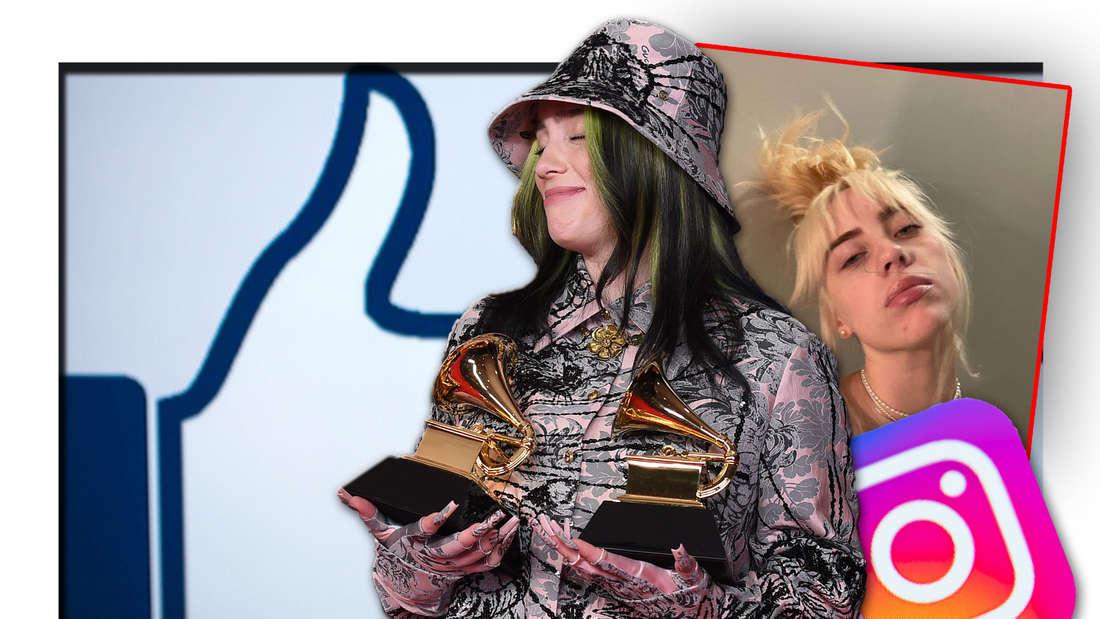 Popstar Billie Eilish posiert mit zwei Grammys in der Hand, neben einem Instagram-Bild von ihr, dem Logo der Social Media-Plattform und einem Like (Fotomontage)