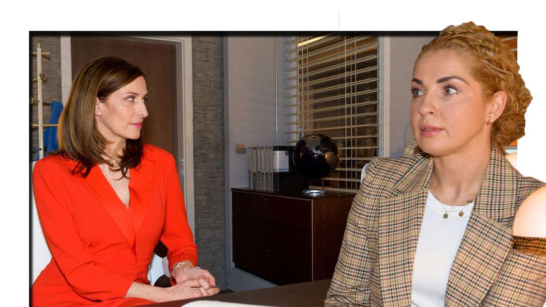 Nina schaut ängstlich in die Kamera - neben ihr sieht man Katrin Flemming (Fotomontage).