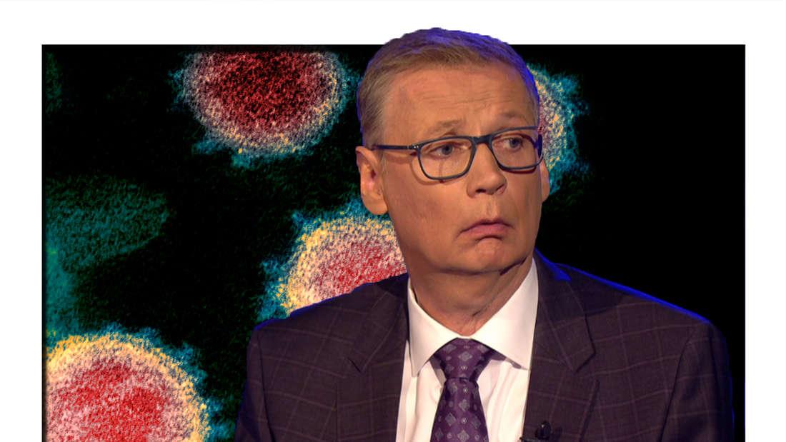 Fotonmontage: Günther Jauch vorne, im Hintergrund ein mikroskopisches Bild vom Corona-Virus
