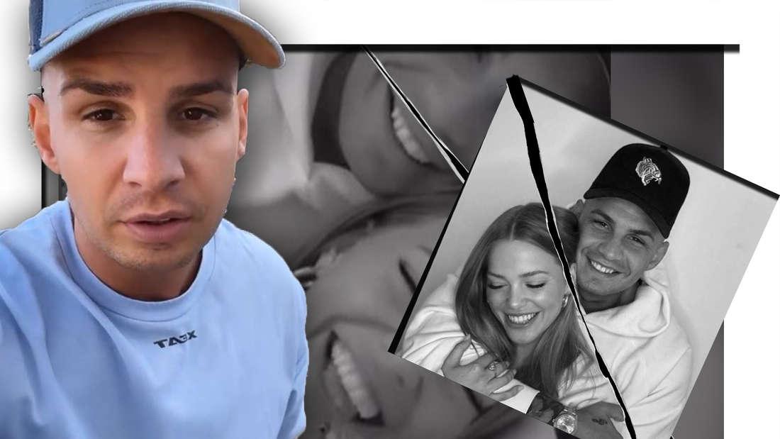 Pietro Lombardi schaut traurig, Laura und Pietro zusammen (Fotomontage)