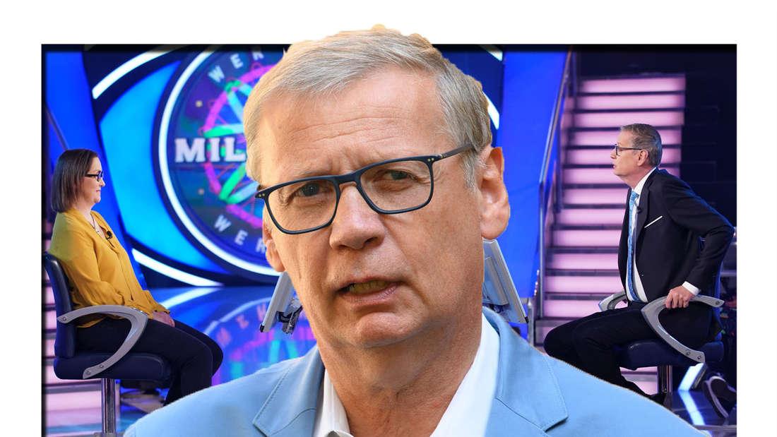 """Günther Jauch schaut erstaunt in die Kamera - im Hintergrund sieht man ihn mit einer Kandidatin bei """"Wer wird Millionär"""" (Fotomontage)"""