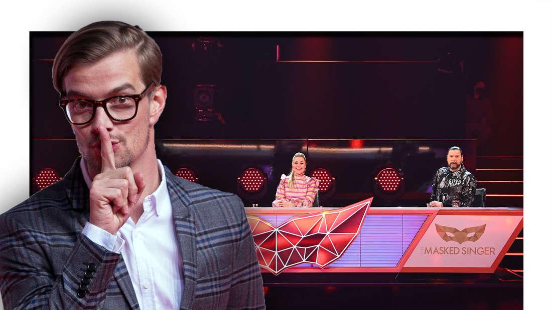 """Joko Winterscheidt hält den Finger vor den Mund, """"The Masked Singer""""-Rateteam (Fotomontage)"""