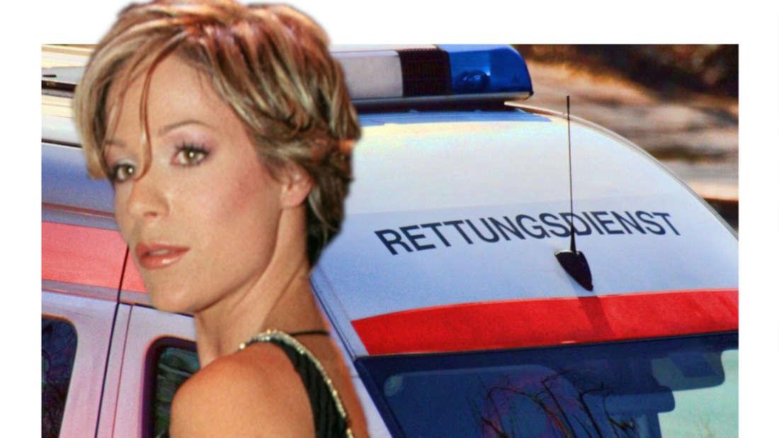 Michelle schaut auf einen Rettungswagen (Fotomontage)