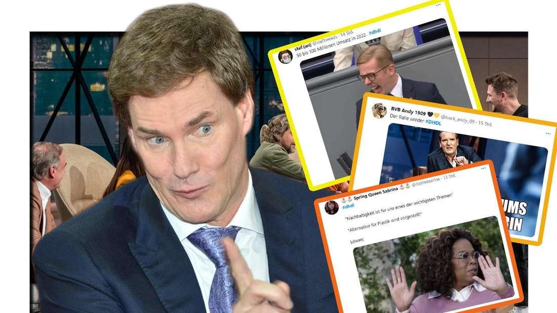 """Fotomontage: Carsten Mashmeyer und Screenshots von Tweets zur Sendung """"Die Höhle der Löwen"""""""