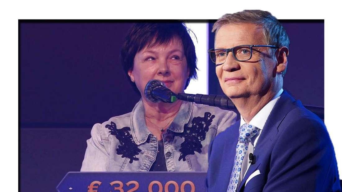 Günther Jauch grinst in die Kamera - dahinter sieht man eine Kandidatin bei Wer wird Millionär (Fotomontage).