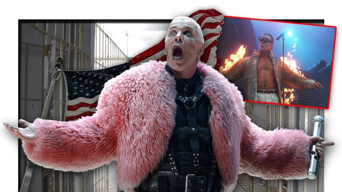 Rammstein-Frontmann Till Lindemann steht vor der US-Flagge und Gefängniszellen (Fotomontage)