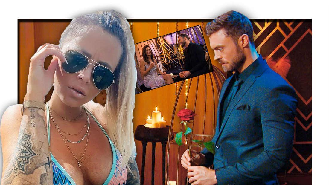 Jade mit Sonnenbrille schaut skeptisch, Niko Griesert mit einer Rose in der Hand (Fotomontage)