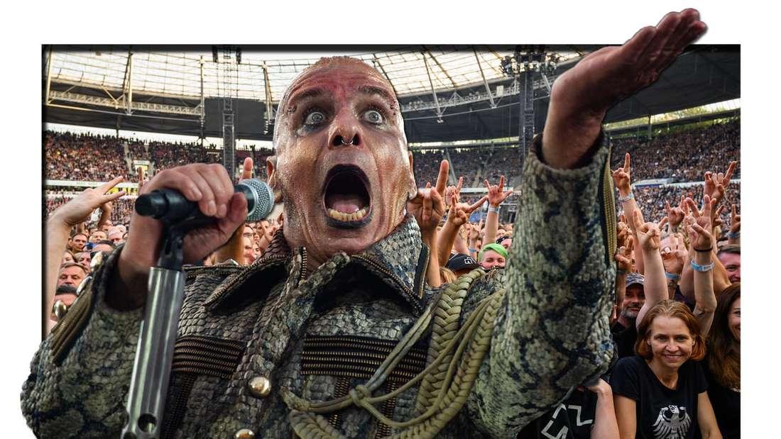 Till Lindemann, Frontsänger von Rammstein, beim Konzert der Band Rammstein in der HDI-Arena am 02.07.2019. Dahinter: Das Publikum feiert beim Konzert der Band Rammstein in der HDI-Arena am 07.07.2019 (Fotomontage)