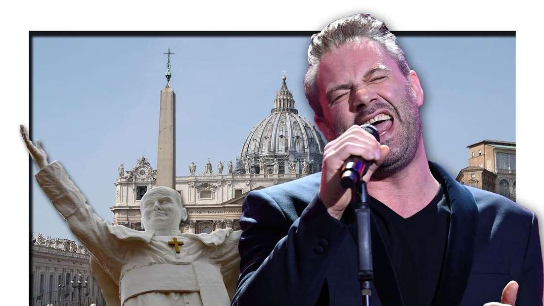 """""""The Masked Singer""""-Gewinner Sasha steht vor dem Petersdom (Vatikan) und neben einer Statue von Papst Johannes Paul II. (Fotomontage)"""