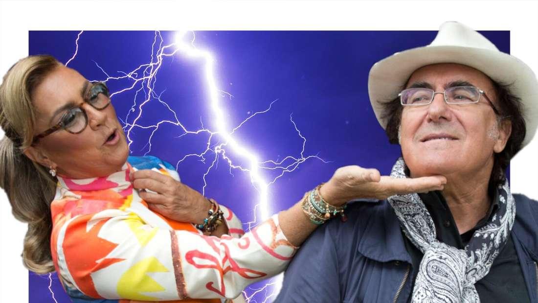 Es sieht so aus als würde Romina Power Al Bano eine Backpfeife geben (Fotomontage)