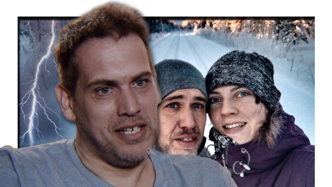 Fotomontage: links Sven Hildebrandt, im Hintergrund er mit Julia
