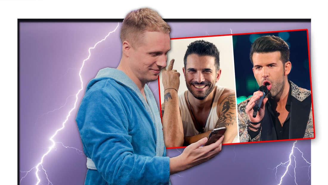 Oliver Pocher steht in einem Bademantel vor einem Gewitter, daneben ein Bild von Marc Terenzi und Jay Khan von Team 5ünf