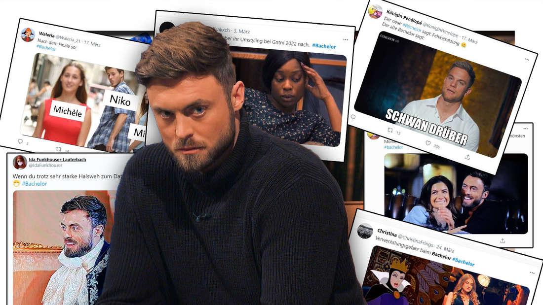 Niko Griesert schaut ernst, Twitter-Beiträge im Hintergrund